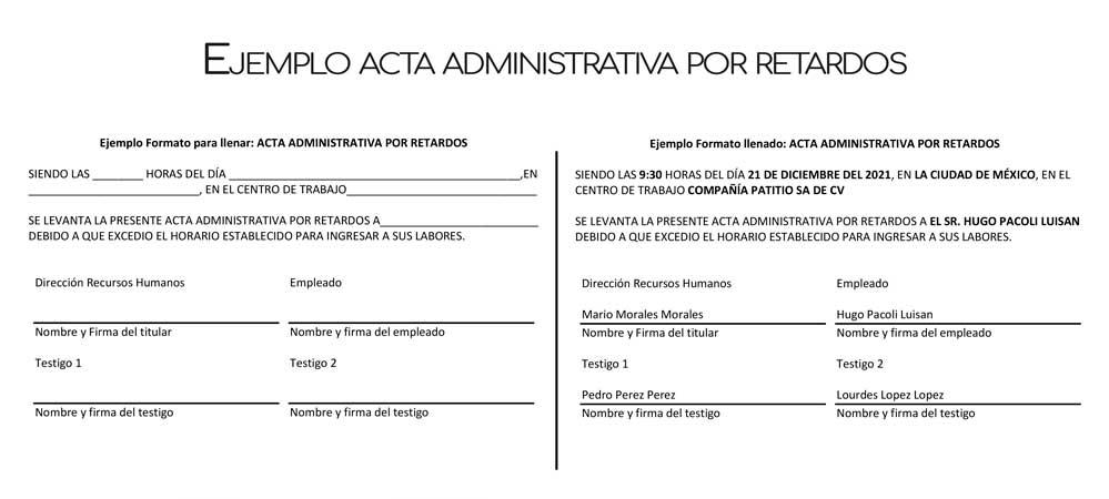 acta administrativa por retardos